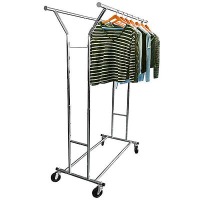 Commercial Adjustable Clothing Rolling Double Garment Rack Hanger Holder Us