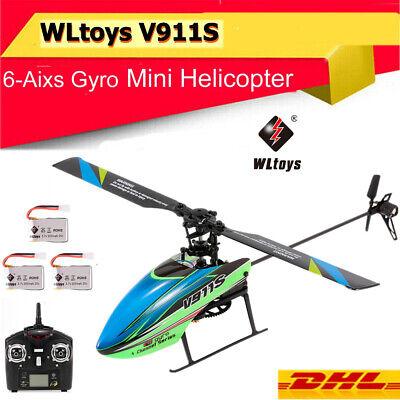 WLtoys V911S 4CH 6G Nicht-Querruder RC Hubschrauber Helikopter Drone mit 3 Akkus