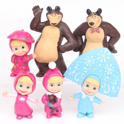 Masha And The Bear 4 Masha 2 Bear 6 PCS Action Figure Doll Gift Cake Topper Toys