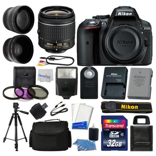 Nikon D5300 Digital SLR Camera + 3 Lens Kit 18-55mm + 32GB A