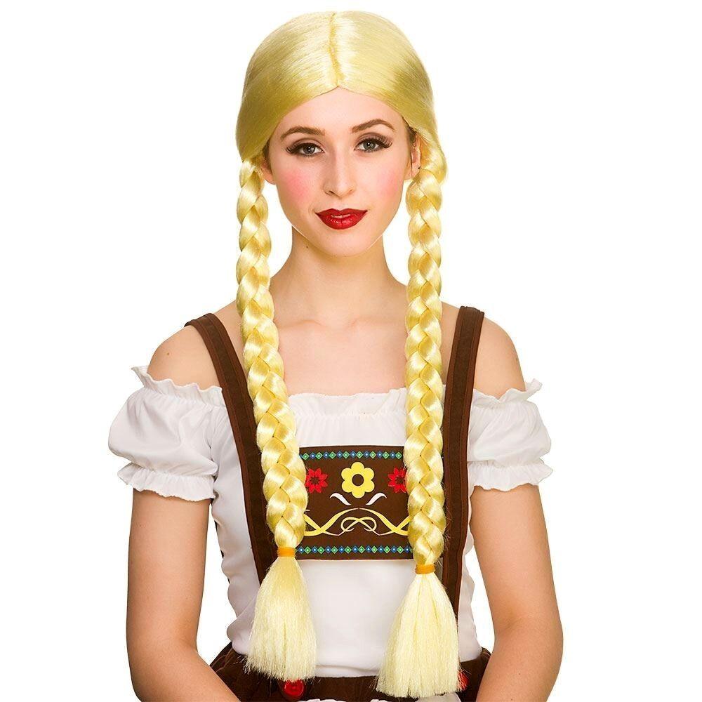 Ladies FUNNY OKTOBERFEST BEER GIRL WIG Plaits Blonde Pigtail German Bavarian