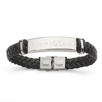 Lederarmband Leder Edelstahl Armband Flechtarmband mit Namen Gravur Geschenk