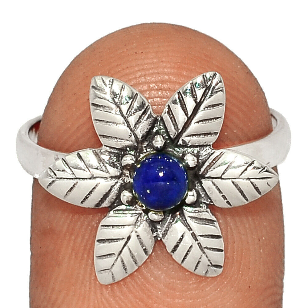 Flower - Lapis - Afghanistan 925 Sterling Silver Ring Jewelry S.8 BR40130 - $8.99