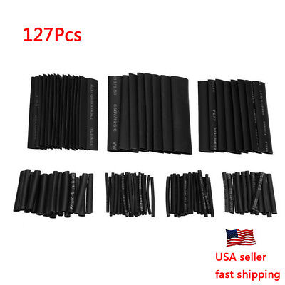 127pc Heat Shrink Wire Wrap Assortment Set Tubing Electrical Connection Cable