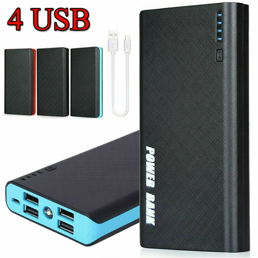 4 USB 900000mAh Portable Backup External LED Power Bank Battery Pack Charger Cell Phone Accessories