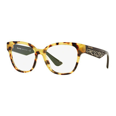 New Authentic Miu Miu Light Havana Eyeglasses Demo Lens - MU06OV 7S01O1