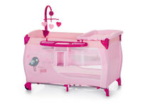 NEW BOXED TRAVEL COT BABY CENTRE IN GIRLY PINK FROM BIRTH TO THREE WITH TWO LEVELS AND CHANGING TOP