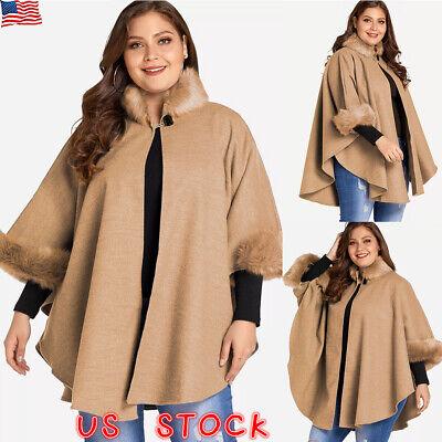 Plus Size Cape (Plus Size Womens Winter Cape Flare Sleeve Wool Faux Fur Collar Cloak Poncho)