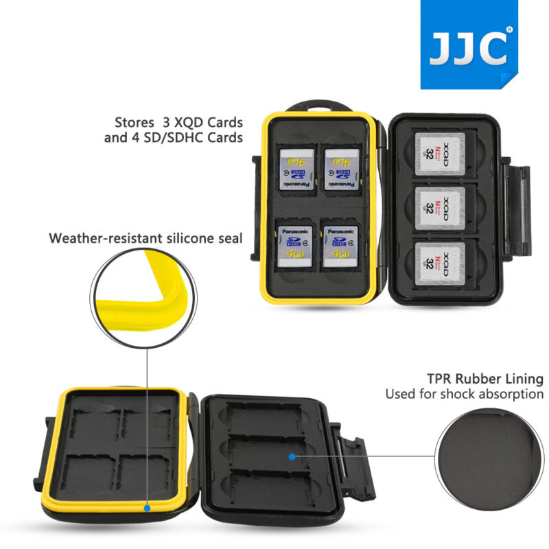 JJC Water-resistant Memory Card Case Holder Storage for 3 XQD + 4 SD SDHC Cards