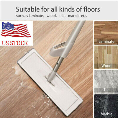 US Self Cleaning Drying Wringing Mop Bucket System Flat Floor 1 Microfiber Pad