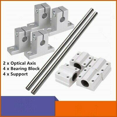 8101216mm Dia Bearing Slide Linear Shaft Optical Axis W Rod Rail Support