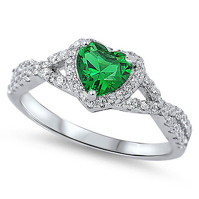 (Sterling Silver 925 Emerald CZ Infinity Heart Halo Women's Promise Ring Sz 4-10)