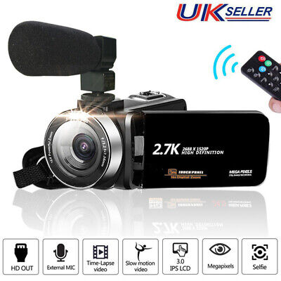 Camcorder Video Camera 2.7K Full HD 30MP Vlogging for YouTube 16X Digital Zoom