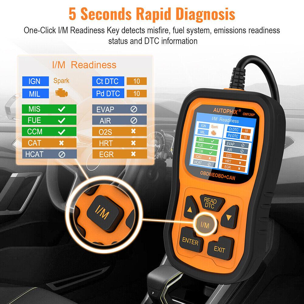 AD410 OBDII Code Reader Scanner Check Engine Light O2 Sensor Test I//M Readiness
