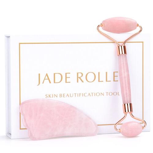 Rose Quartz Facial Roller Massager Gua Sha Set for Face Jade Roller Tool US Health & Beauty