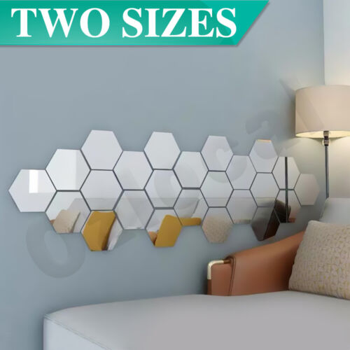 Home Decoration - 12PCS Mirror Hexagon Stickers Wall Home Decor DIY Art Removable 2 Sizes Room AU