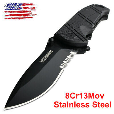 Tactical Knife Stainless Steel Razor Sharp Spring Assisted Opening Knives US Assisted Opening Black Razor Sharp