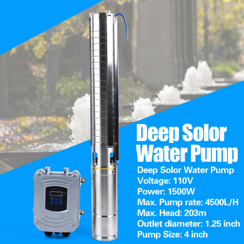 1.5KW DC110V Solar Water Pump 4500L/H Farm Ranch Submersible Bore Hole Deep Well