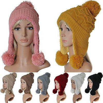 Damen Beanie Winter Mütze Teddy-Fleece Strickmütze Ski Flieger Norweger Bommel