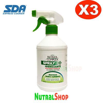 Spray Disinfettante Igienizzante Antibatterico Alcool 65% Superfici Tessuti 3PZ