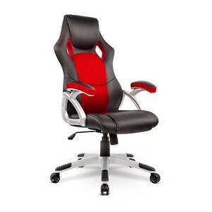 Free Delivery: PU Leather & Mesh Racing Style Office Chair - Red Parramatta Parramatta Area Preview