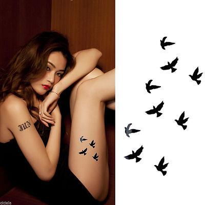 2Pcs Lady Waterproof Temporary Tattoo Body Art Flying Birds Sticker Removable HK