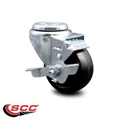 Hard Rubber Swivel Bolt Hole Caster W3 Wheel Brake