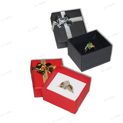 10-BOXES BOW-TIE BLACK & RED RING BOX BOW TIE GIFT BOX JEWELRY BOX RED RING (Bow Ring Jewellery Box)