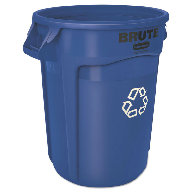 Rubbermaid Brute Recycling Container, Round, 32 Gal, Blue 263273BE NEW
