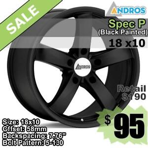 18x10 wheels, 5-130 ANDROS Spec P (Black Painted)