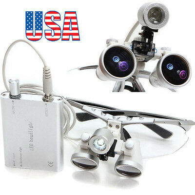 Silver Dental Surgical Loupes 3.5x 420mm Optical Glass With Led Head Light Lamp