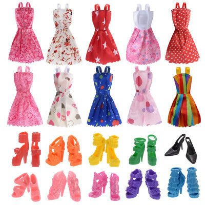 10 Pack Barbie Doll Clothes Party Gown Outfits With 10 Pairs Doll Shoes Set