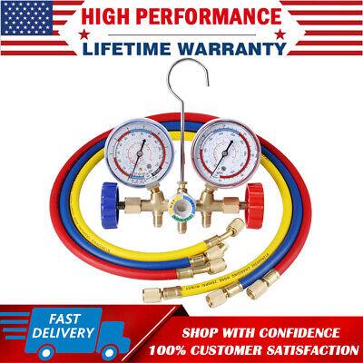 R134a R12 R22 R502 Manifold Gauge Set Hvac Ac Auto Refrigerant W Charging Hoses