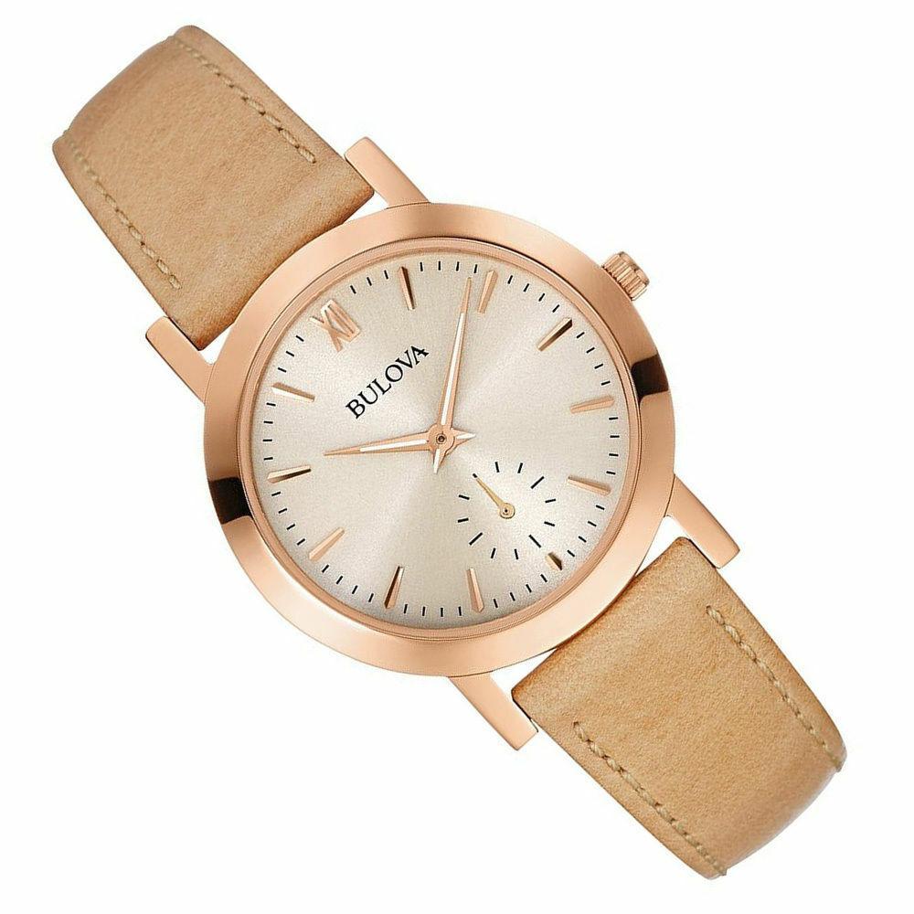 Bulova Classic Women's Quartz Grey Dial Beige Leather Strap 32mm Watch 97L146