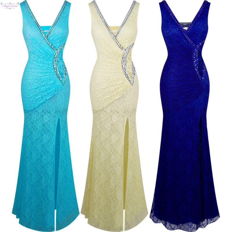 Angel-fashions Women Lace V neck Slit Beading Evening Prom Dress 232