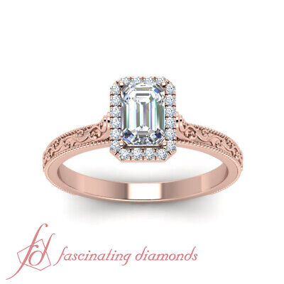 .75 Ctw. Emerald Cut Diamond Vintage Engraved Halo Engagement Ring For Women GIA 1