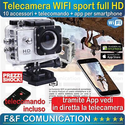 TELECAMERA SUBACQUEA WIFI FULL HD BICI CASCO SCI IMMERSIONE APP TELECOMANDO INC