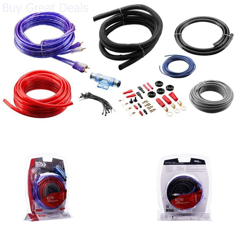 Boss Audio Wiring Kit For Library 4 Gauge Amplifier Amp Install Power Sub Car Subwoofer