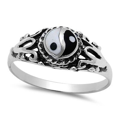 Ancient Chinese Symbol Yin Yang .925 Sterling Silver Ring Sizes 5-11