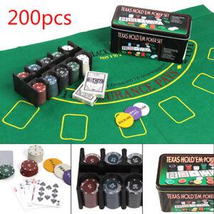 PROFESSIONAL 200 PIECE TEXAS HOLD'EM POKER CASINO GAME CHIPS SET IN CASE SETS UK