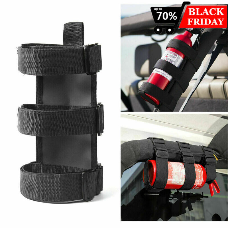Car Roll Bar Fire Extinguisher Holder Mount Bracket Adjustable for Jeep Wrangler