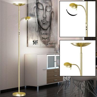 LED 23 Watt Steh Lampe Flexo Lese Stand Leuchte Büro Messing Licht Decken Fluter
