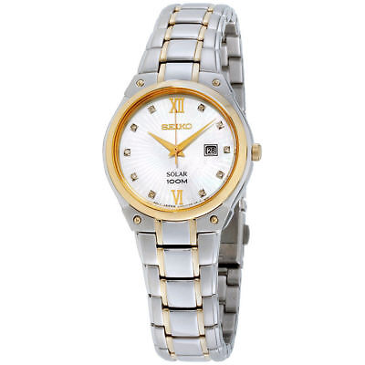 Seiko SUT214 Women's Dress Diamond Mother of Pearl Dial Stainless Steel Watch