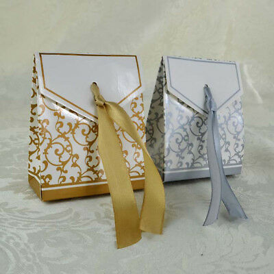 10pcs Wedding Favour Candy Boxes Bags With Ribbon Sweet Cake Gift Party Favor - Cake Favor Boxes