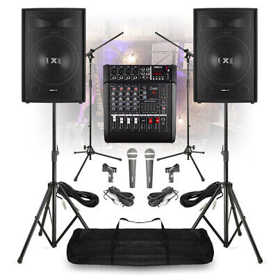 """Used, Complete Band PA System 15"""" Speakers 5 Channel Mixer Amp Microphones with Stands for sale  Shipping to Ireland"""
