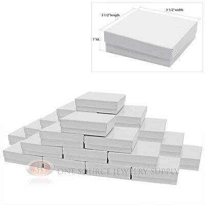 25 Gloss White Cotton Filled Gift Boxes 3 12 X 3 12 Jewelry Bangle Chain Box