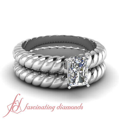 1/2 Ct GIA Certified Radiant Cut Diamond Solitaire Helical Bridal Sets For Women