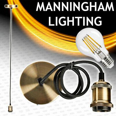 Techo Colgante Flex Cable Lámpara Colgante Latón Antiguo Bombilla LED Ajuste