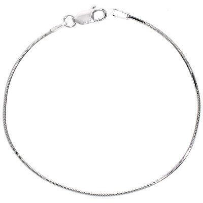 (Sterling Silver 8-Sided Octagonal Snake Chain Necklace 0.9mm,1mm,1.2mm,1.5mm)