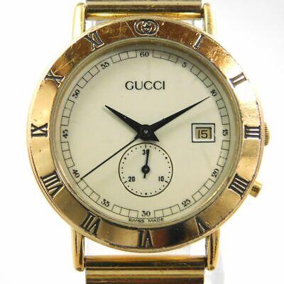 GUCCI 3800Jr GOLD CHRONOSTOP DATE LADIES VINTAGE SWISS MADE WATCH
